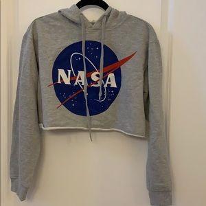 NASA cropped hoodie sweatshirt NEW